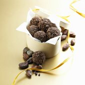 Chocolate Truffles Coated in Crushed Cocoa Beans; In Gift Box