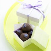 Chocolate Violet Truffles in Gift Boxes