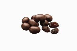 Dark Chocolate Covered Raisins; Raisins; White Background