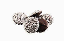 Dark Chocolate Nonpareils; White Background