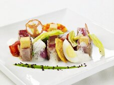 Tuna with Egg, Tomato Chips and Sherry Foam