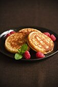 Pancakes with Fresh Raspberries and Mint