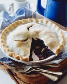 Blueberry Pie with a Slice Removed
