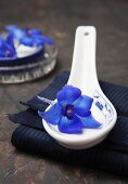 A delphinium on a porcelain spoon on folded fabric