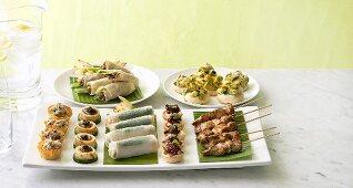 Assorted appetisers (skewers, spring rolls etc.)