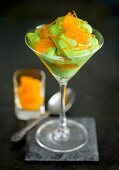 Matcha (green tea) cream with mandarin oranges and orange zest