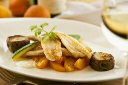 Sole on apricot and ginger ragout and Jerusalem artichokes