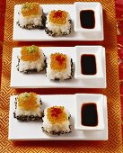 Sushi cubes with trout caviare