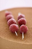 Skewered raspberries decorating a chocolate mousse cake