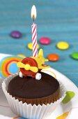 Chocolate muffin for child's birthday