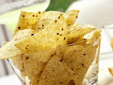Tortilla Chips in a Glass Dish