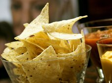 Tortilla Chips with Salsa and Nacho Dip