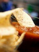 Tortilla Chip in Salsa