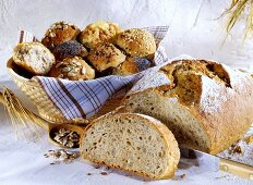 Granary bread and assorted rolls