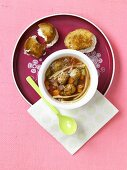 Spaghetti and Meatball Soup with Grilled Mozzarella Cheese Sandwich
