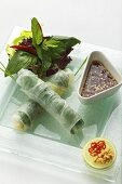 Steamed Vietnamese spring rolls with fish sauce