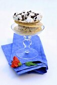 Stracciatella ice cream with waffles