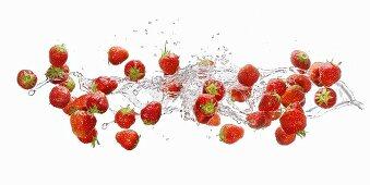 Strawberries making a splash