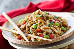 Orzo Asian Rotisserie Chicken Salad with Chopsticks on Plate