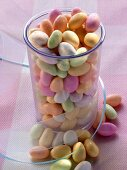 Pastel-coloured sugar eggs (jelly beans) for giving