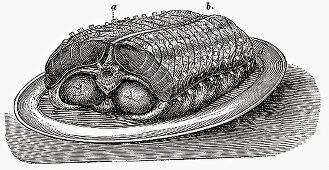 Saddle of veal on platter (Illustration)
