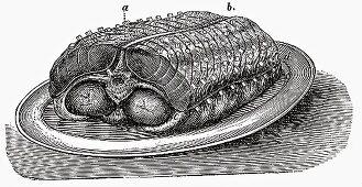 Saddle of veal on platter (Illustration)