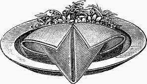 Decoratively folded napkin (Illustration)