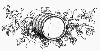 Wine barrel among grapes and vine leaves (Illustration)