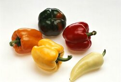Various peppers and a pointed pepper