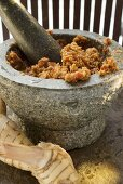 Chili paste with galanga in mortar