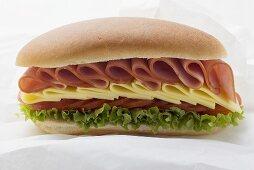 Sub sandwich on sandwich wrap