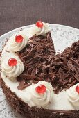 Black Forest gateau, a piece taken
