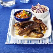 Spare-ribs with side-salad and coleslaw