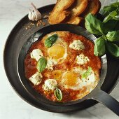 Fried eggs with tomato sugo in frying pan