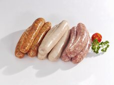 Various types of sausages (raw)
