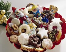 Plate of assorted biscuits and chocolate figures