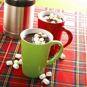 Two Mugs of Hot Chocolate with Mini Marshmallows