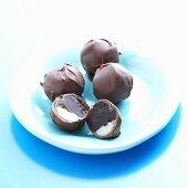 Triple Chocolate Truffles; One Halved; Milk, White and Dark Chocolate