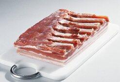 Pork belly on a chopping board