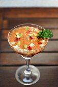 Gazpacho in a cocktail glass