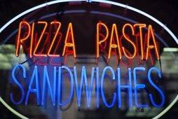 Neon Pizza Pasta Sandwiches Sign
