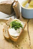 Fresh bread with butter and chives