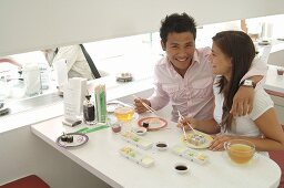 Couple in Asian restaurant