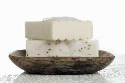 Soaps in soap dish