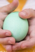 Child's hands holding a green egg
