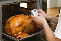 Checking turkey in oven with meat thermometer