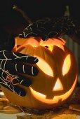 Hands in cobweb gloves holding pumpkin lantern