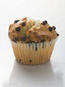 Chocolate chip muffin in paper case