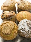 Assorted muffins in muffin tin