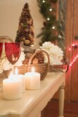 Side table decorated for Christmas
